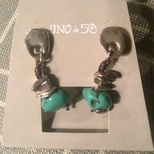 UNO DE 50🦋NWT SILVER TURQUOISE DANGLE EARRINGS